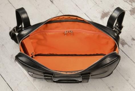 Hand-burnised-black-Platform-Portfolio-with-tangerine-grosgrain-lining;-15-x-11-x-4'-topdown2