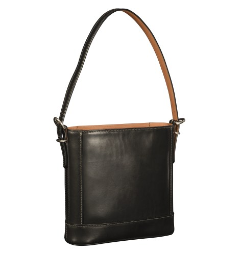 Hand-burnished-black-Shoulder-Bag-with-hand-grained-natural-trim-and-warm-gray-grosgrain-lining;-10-x-10-x-3'