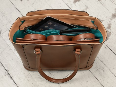 Hand-burnished-espresso-City-Tote-with-hand-grained-natural-trim-and-turquoise-grosgrain-lining;-14-x-11-x-6'-topdown2