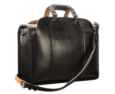 Hand-grained,-hand-colored-olive-black-Transaction-Bag-with-hand-grained-natural-trim;-19-x-13-x-6'-back