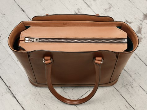 Hand-burnished-espresso-City-Tote-with-hand-grained-natural-trim-and-turquoise-grosgrain-lining;-14-x-11-x-6'-topdown1