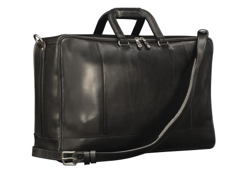 Hand-burnished-black-Square-Duffel-with-square-handles;-20-x-13-x-6'-back