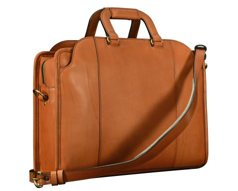 Hand-burnished-chestnut-saddle-leather-Day-Bag;-17-x-12-x-4'-back