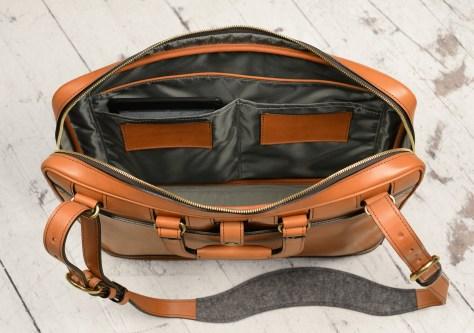Hand-burnished-chestnut-saddle-leather-Platform-Portfolio-with-shoulder-strap;-16-x-11-x-4'-topdown3