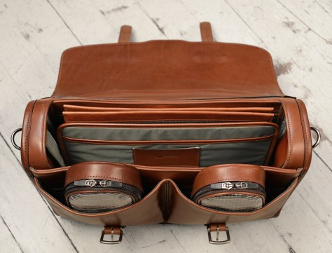 Hand-burnished,-handmade-espresso-Flaptop-Bag;-16-x-12-x-4'-topdown1