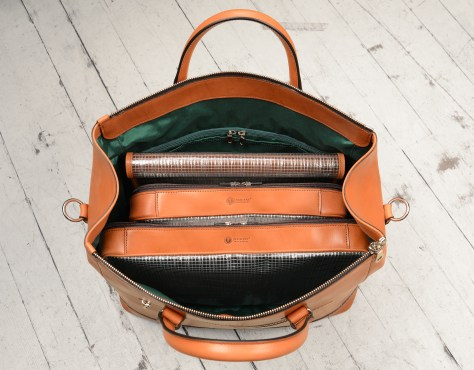 Hand-burnished,-chestnut-Club-Bag-with-water-cress-green-grosgrain-lining-and-cross-body-strap;-17-x-12-x-8'-topdown1