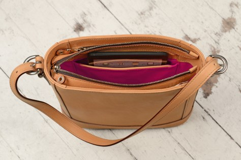 Hand-burnished-natural-leather-Shoulder-Bag-with-short-shoulder-strap-and-magenta-lining;-10-x-10-x-3'-topdown2