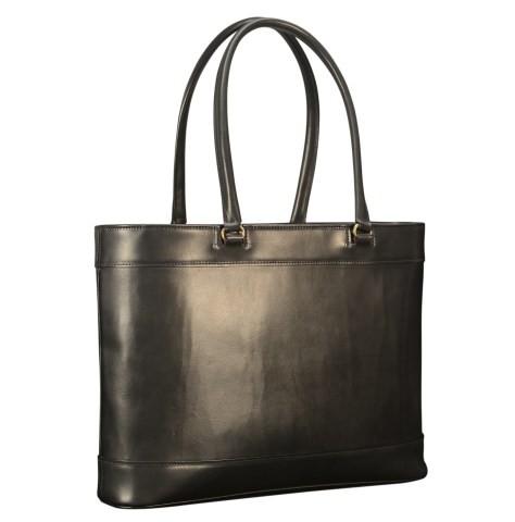 Hand-burnished-black-Business-Tote-with-long-handles-and-forest-green-lining;-17-x-13-x-4