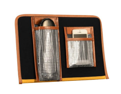 Hand-burnished-chestnut-Padded-Panel-with-cadmium-yellow-lining,-eye-glasses-holder-and-shirt-pocket-organizer