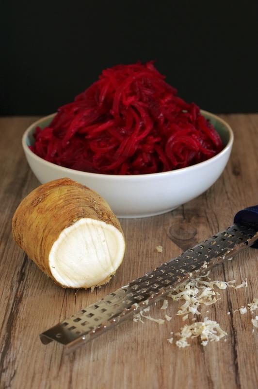 Zutaten für rote Bete Salat mit Meerrettich