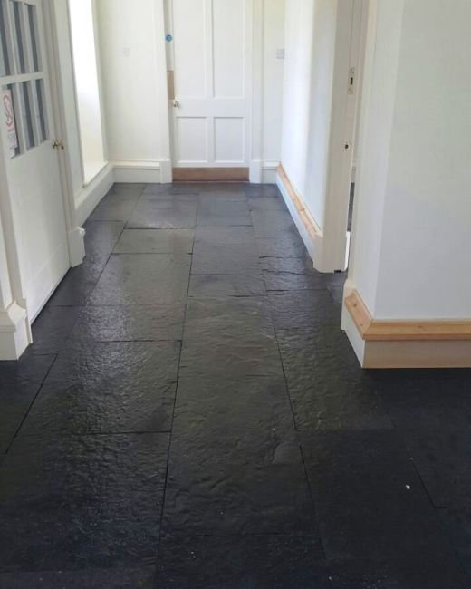 Natural Rough Slate Tiled Floor Touch Estate After Cleaning and Sealing