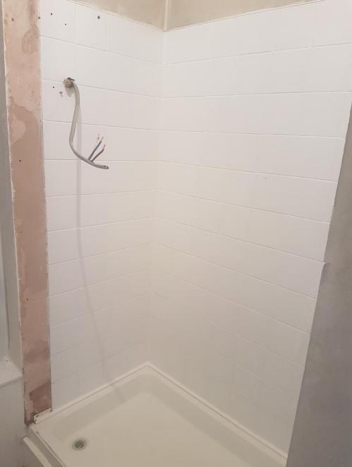 Smoke Damanged Shower Tiles After Restoration Ayr