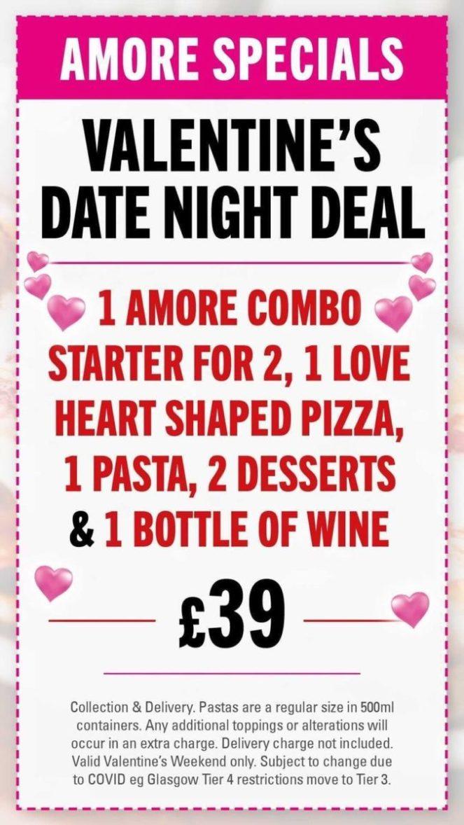 Amore Glasgow valentines menu