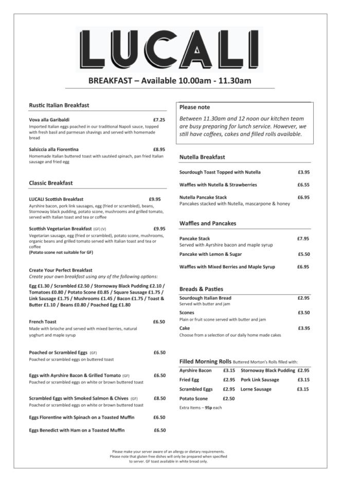 Lucali by Andiamo Giffnock - breakfast menu
