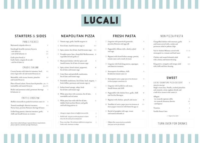 Lucali by Andiamo Giffnock -lunch dinner menu