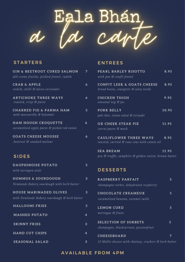 Eala Bhan a la carte menu