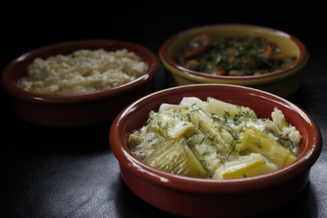 Turkish leeks pictured with baba ganoush and a carrot and lentil dish