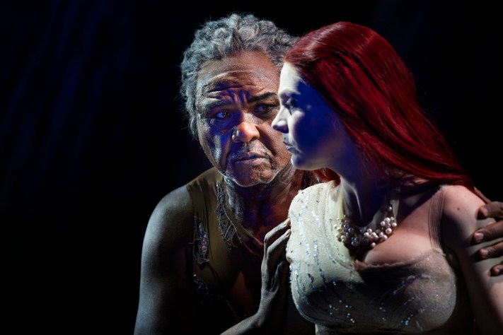 Sir Willard White as Rusalka's father and Anne Sophie Duprels as Rusalka. Scottish Opera 2016. Credit James Glossop.