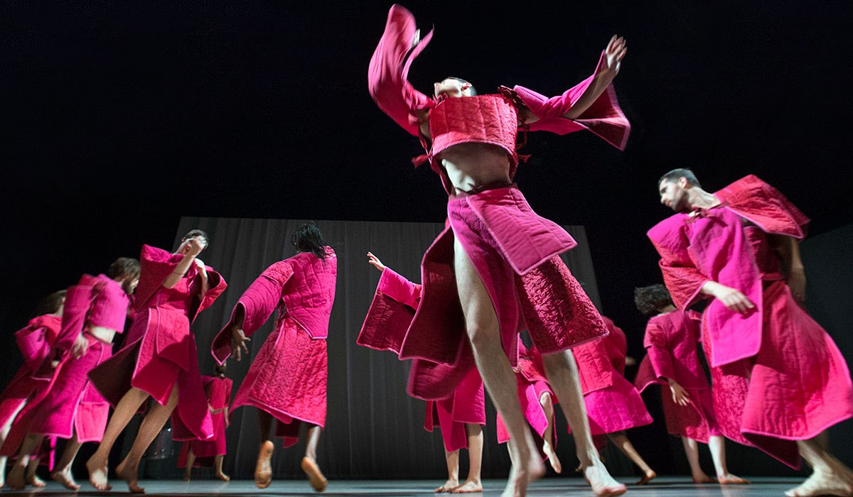 dancers in pink quilted costumes