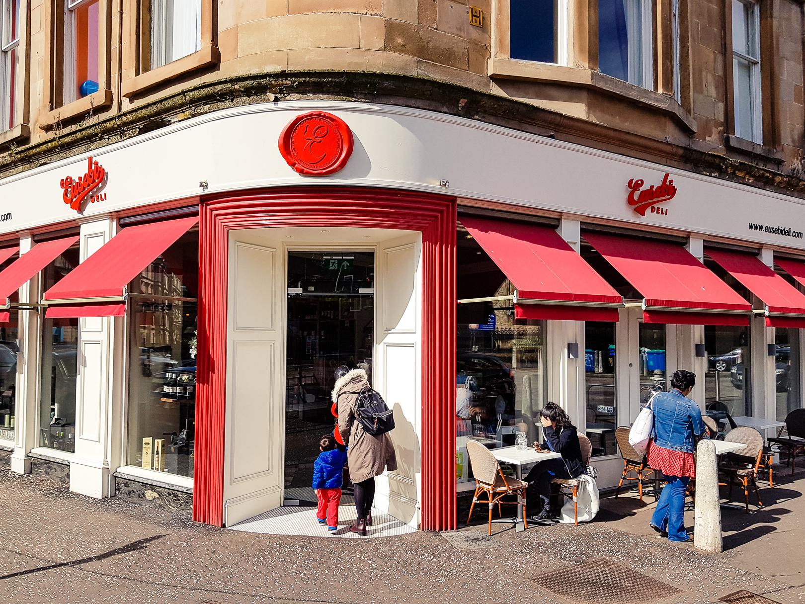 The exterior of Eusebi Deli in Glasgow.