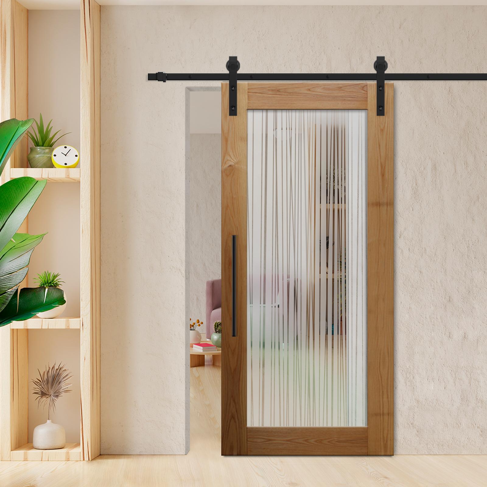 real solid hardwood sliding barn door with glass insert wgd 0020