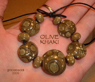 olive khaki beads by graciebeads