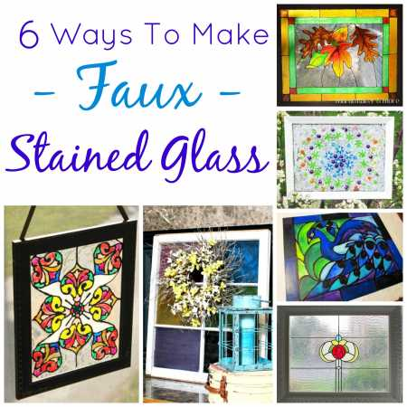 6 ways to make faux stained glass glass art for Homemade glass painting designs