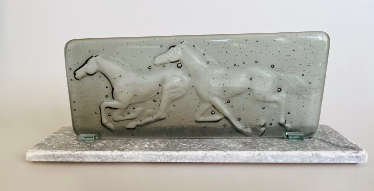Glass By Tina 'Galloping horses' glass sculpture