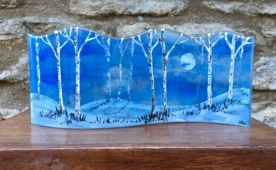 Fused glass panel with blue winter style, silver birches