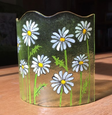 Curved fused glass panel with hand painted daisies