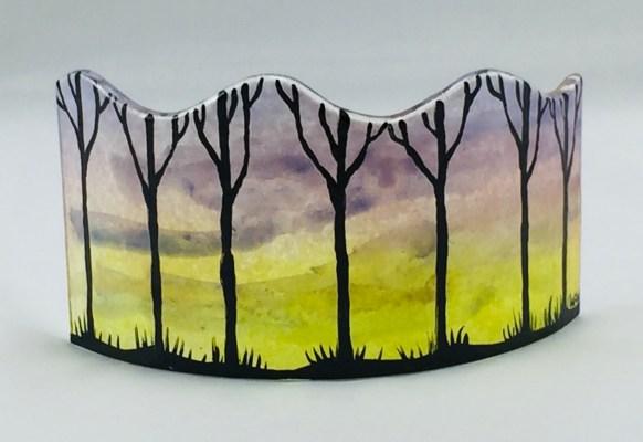 Fused glass mini panel of sunrise with tree silhouettes