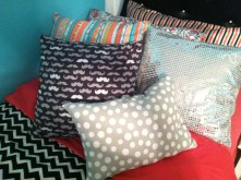 Kacee's new pillows. I was told they were for decoration only. As soft as they are, they were not for my head. (Noted)