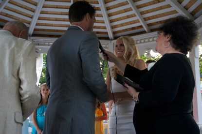 """Shannon wanted me to write her vows, I thought she was joking. She was not. Here I am adlibbing and creating her vows on the spot. My favorite: """"Do you accept the Tigers as my Summer Mistress from here on forward? """" Thank God she said Yes"""