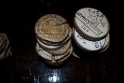 """We created coasters from downed limbs in our neighborhood as a keepsake for the night. """"Everything happens for a reason"""""""