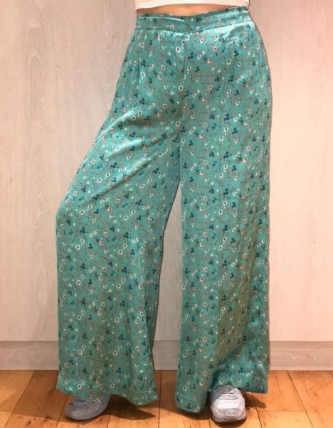 Green Silky Flared Trousers