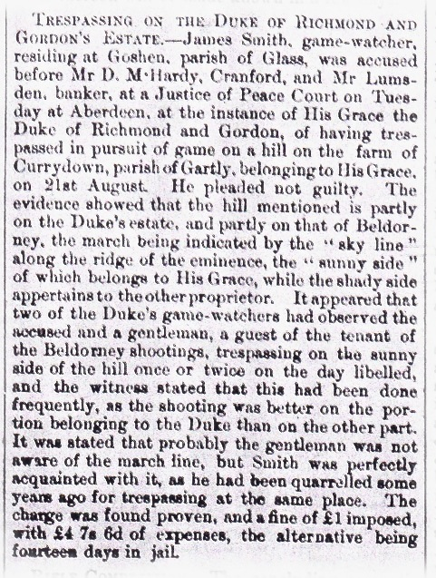001_Huntly Express_14 October 1876_Trespass On Duke Of Richmond & Gordeon's Estate