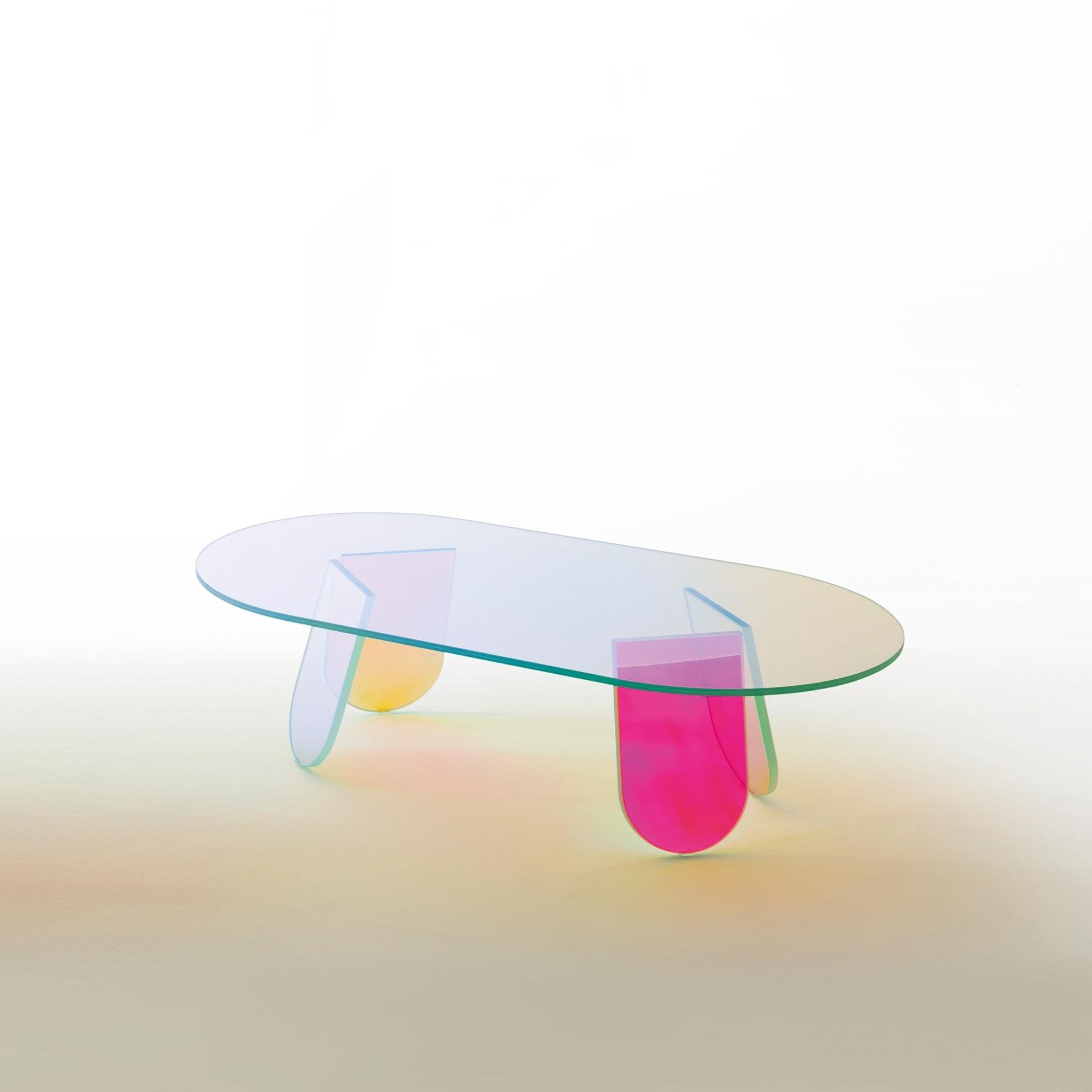 glas italia shimmer coffee table oval colour shifting