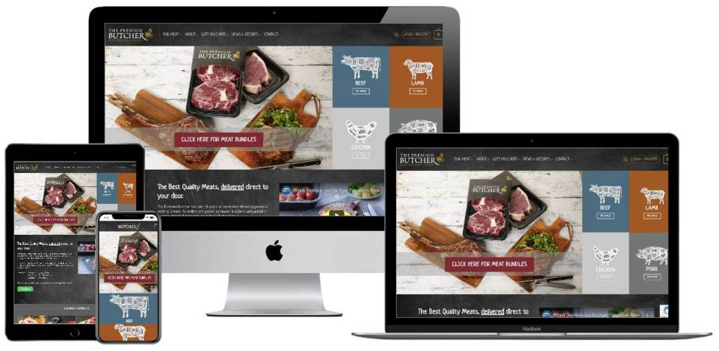 the premium butcher website mockup