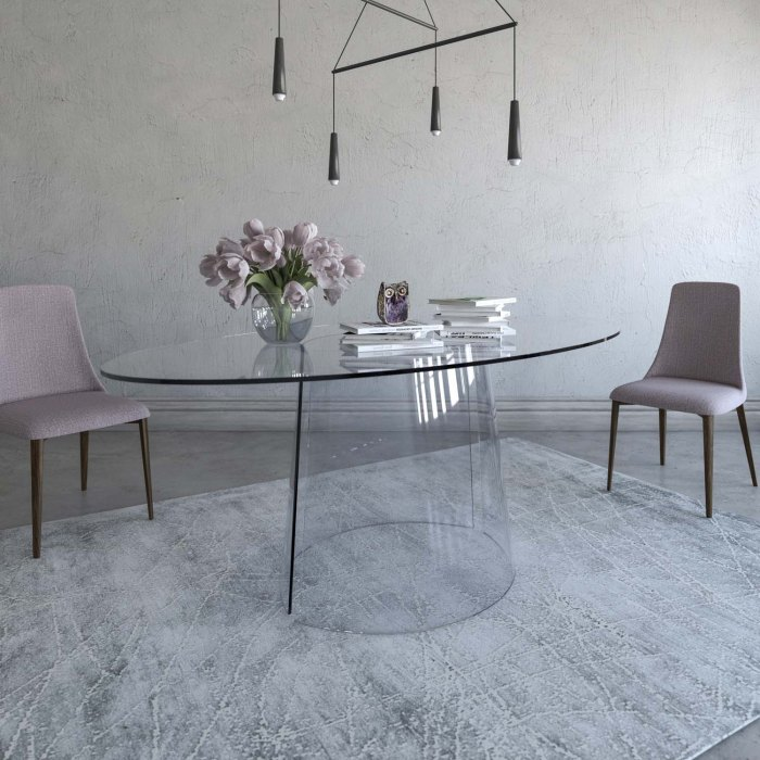 curved glass dining room table - cono