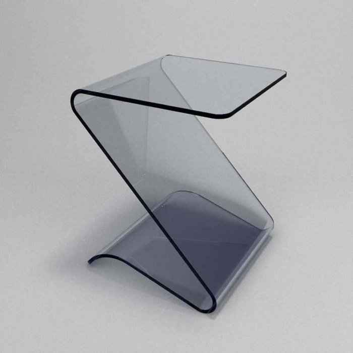 Zetas curved glass side table