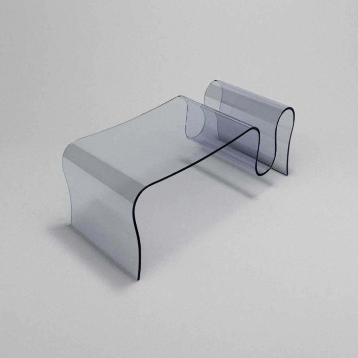 glass coffee table curved