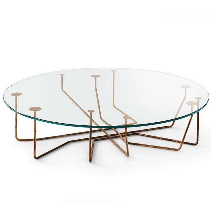 Connection Glass and Brass Coffee Table by Gallotti & Radice
