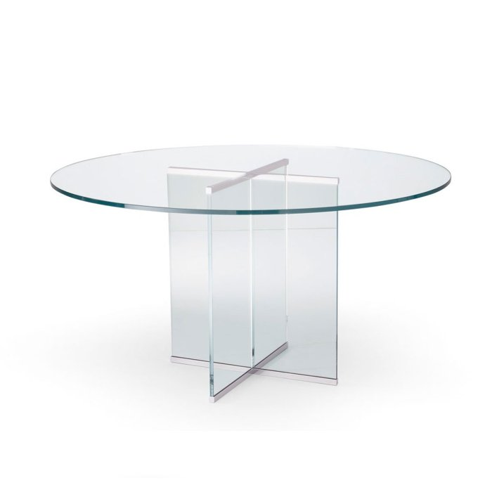 Eros All Circular Glass Table by Gallotti & Radice