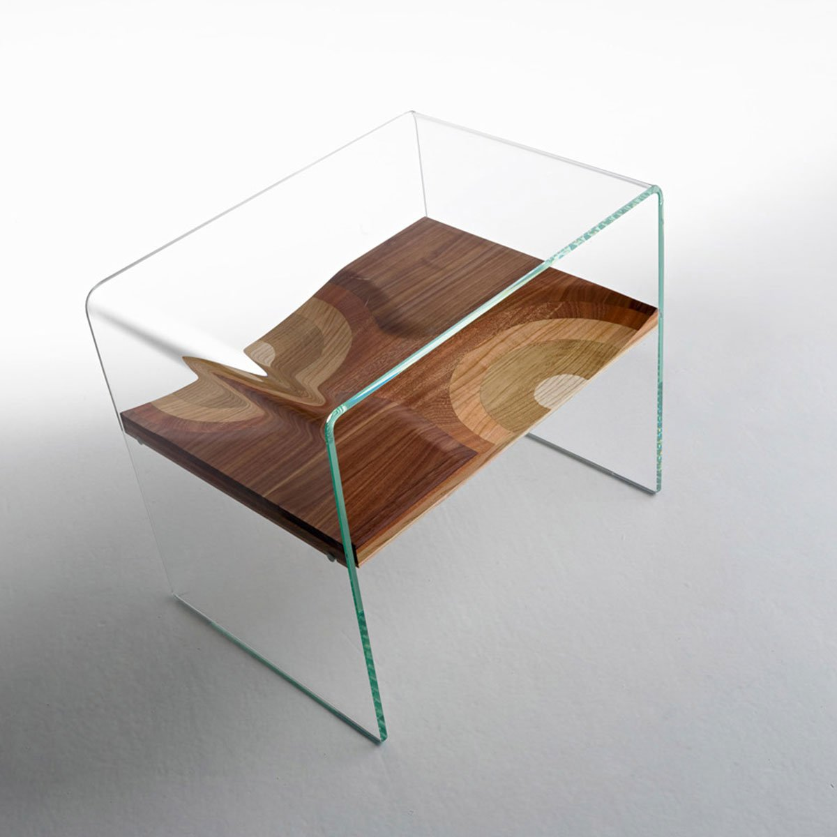 Bifronte Wood Glass Side Table Klarity Glass Furniture