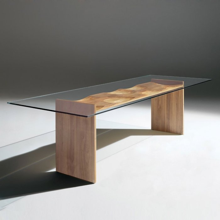 wood and glass dining table - ripple