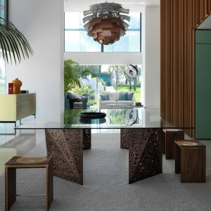 large glass dining table