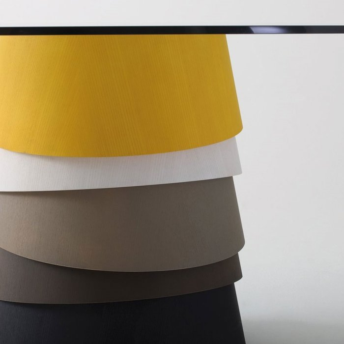 Layer Glass and Wood Table By Gallotti & Radice