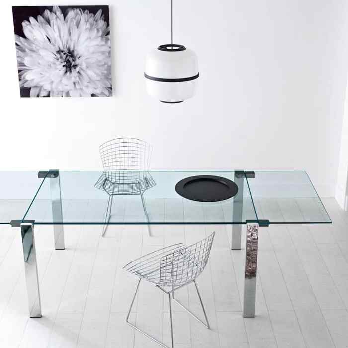 Livingstone Glass Dining Table by Tonelli chrome metal leg and clear glass top