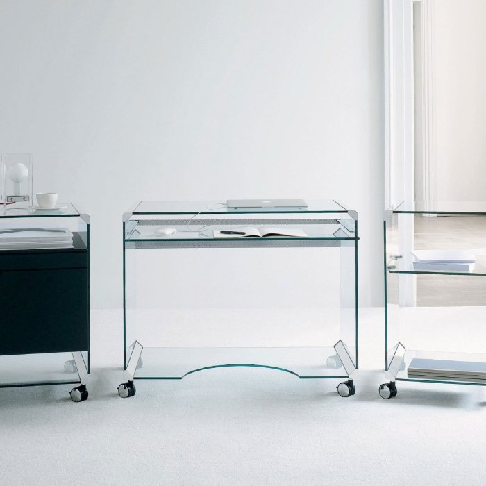 Glass Computer Table - Movie Office A by Gallotti & Radice