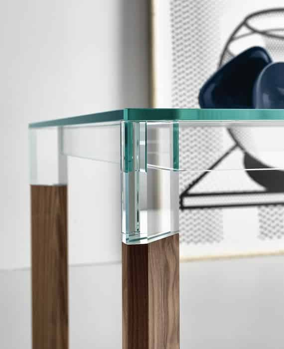perseo - glass and wood table